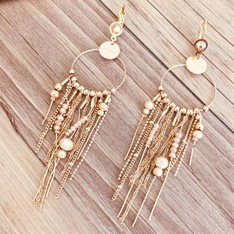 bouclesd'oreilles longue fine chaines pendantes gwapita doré dorée plaqué or