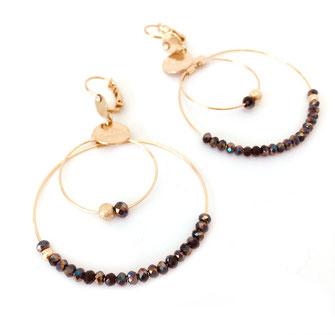boucles d'oreilles Olivia  créoles anneaux deux doubles doré perles gwapita noir