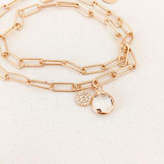 bracelet doré plaqué or fin Gwapita bijoux créatrice française france Billy cristal maillon