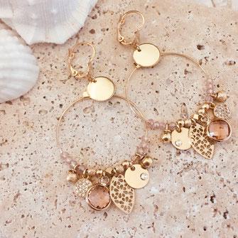 Sasha essentielles boucles d'oreilles earring doré pampilles gwapita wapita rose créatrice