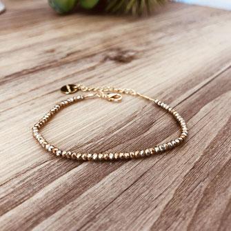 bracelet doré plaqué or fin Gwapita bijoux créatrice française france marron perles fin pyrite