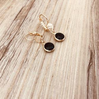 boucles d'oreilles gwapita doré plaqué or creatrice ronde  Paloma pierre sertie noir