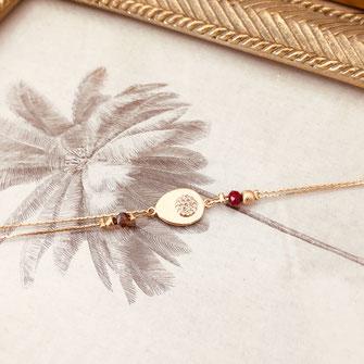 bracelet doré plaqué or fin Gwapita bijoux créatrice française france red marsala bordeaux rouge perles fin