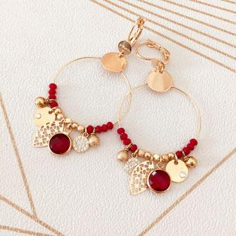 boucles d'oreilles noire gwapita belle grosse creole ronde breloque papille perles doré plaqué or bijoux earrings rouge