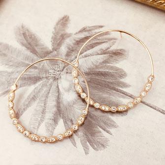 boucles d'oreilles Celestine creole ronde diamants zirconium gwapita finesse bijoux femme cadeau création creatrice doré plaqué or