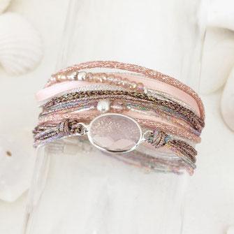 bracelet gwapita Paola rose multirangs multiplies cordons rubans perles pierre sertie argent argenté