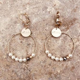 bo boucles d'oreilles gwapita wapita new collection creation bijoux mathilde perle d'eau douce jewels jewelry earrings gold plated plaqué or doré France creoles perles nacres blanc gris