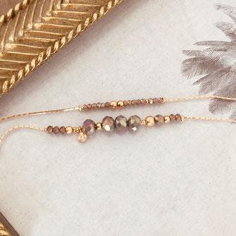 bracelet Marius gris perles doubles tour chaine fine gwapita