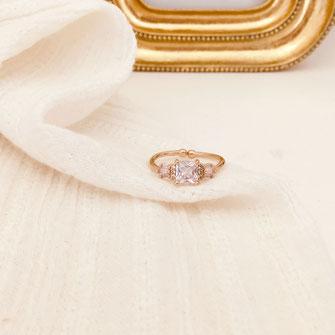 bague gwapita oxyde de zirconium fiançailles blanc brillant diamants doré or  carré bijoux Simone