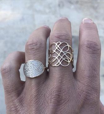 gwapita bijoux bague ring creation plaqué or fin doré ligne courbes