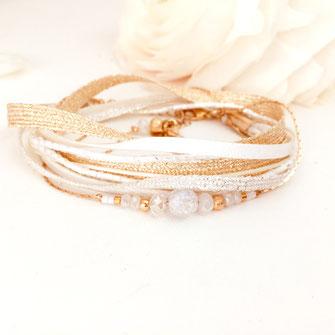 bracelet gwapita fernando blanc perles rubans doré