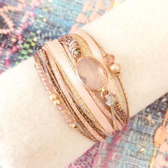 bracelet gwapita fin bijoux France creation finesse perles doré plaqué or manchette multi rangs cordons tissus doré bleu caraïbe turquoise perles