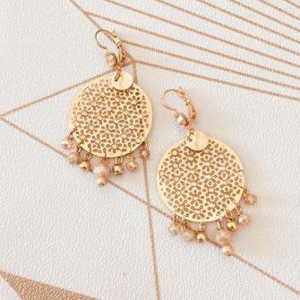 boucles d'oreilles doré gwapita bijoux dentelle strass brillant créateur