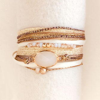 bracelet gwapita fin bijoux France creation finesse perles doré plaqué or Paola multirangs rubans cappuccino