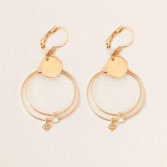 boucles d'oreilles gwapita doré plaqué or creatrice ronde  charlotte oxyde zircon zirconium double anneaux