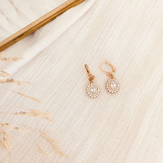 boucles d'oreilles gwapita doré plaqué or creatrice soleil fleur brillant zirconium cristal blanc louise soleil petite classique bijou