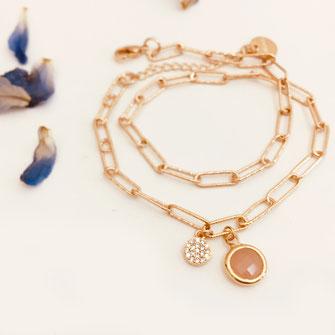 bracelet doré plaqué or fin Gwapita bijoux créatrice française france Billy nude beige gris chaine