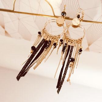 samba gwapita boucles d'oreilles longues belles creation chaines doré fine or