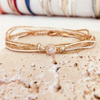 gwapita bracelet blanc adèle doré fin gold rubans