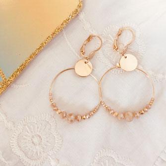 gwapita mini chloé champagne new boucles d'oreilles doré gold  creoles perles beige nude