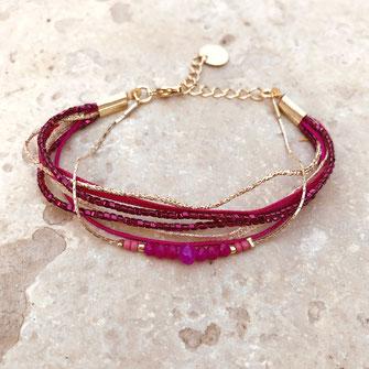 bracelet gwapita bijoux doré fin raffiné multirang perles fuschia
