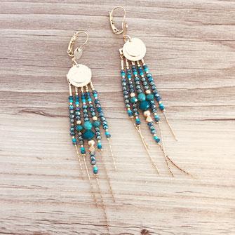 boucles d'oreilles noire gwapita belle grosse creole ronde breloque papille perles doré plaqué or bijoux earrings diva vert