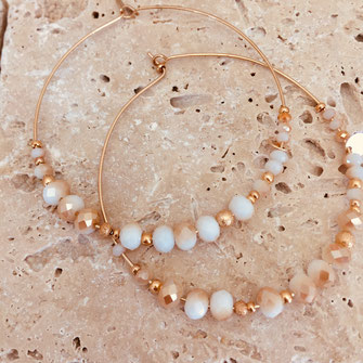 gwapita romy maxi doré sable perles blanc et beige creole maxi taille grande