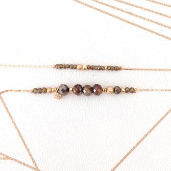 bracelet doré plaqué or fin Gwapita bijoux créatrice française france kaki perles