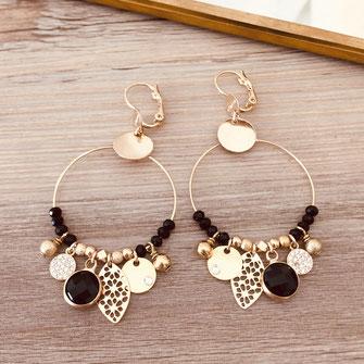boucles d'oreilles noire gwapita belle grosse creole ronde breloque papille perles doré plaqué or bijoux earrings noir Sasha