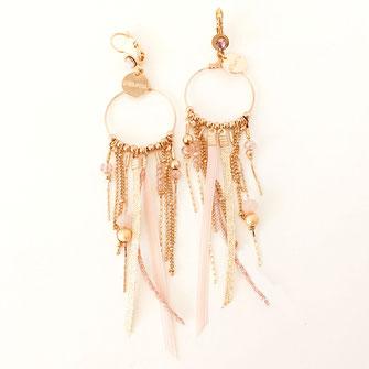 SAMBA boucles d'oreilles rose poudré pink doré gwapita créatrice creation longues belles earrings design