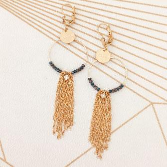 boucles d'oreilles gwapita clémence multi chaines doré plaqué or perle