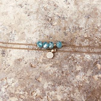 bracelet gwapita fin bijoux France creation finesse perles doré plaqué or  Brooklyn perles bleu turquoise caraïbe