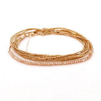 bracelet gwapita fin bijoux France creation finesse perles doré plaqué or  Leo champagne rubans doré multirangs rubans cordons