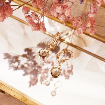 bijoux boucles d'oreilles anneaux créoles brun marron rondes petites pierre serties fine doré gwapita