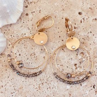 bo boucles d'oreilles gwapita wapita new collection creation bijoux mathilde perle d'eau douce jewels jewelry earrings gold plated plaqué or doré France mini olive gris