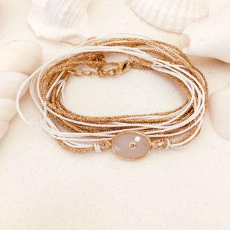 bracelet gwapita fin bijoux France creation finesse perles doré plaqué or  blanc rubans pierre oval