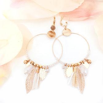 boucles d'oreilles blanc gipsy grande boucle grosse papille breloque pompon perles