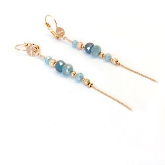 gwapita boucles d'oreilles bijoux création doré  annabelle caraibe bleu turquoise