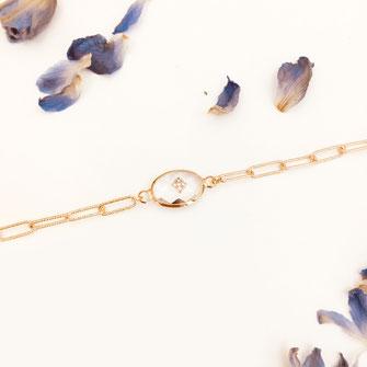 bracelet doré plaqué or fin Gwapita bijoux créatrice française france Grégoire cristal gros maillon chaine