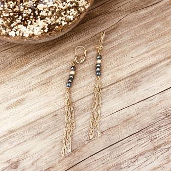 boucles d'oreilles gwapita bijoux longue fine raffinée perles chaines