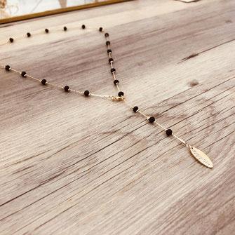 collier choker necklace gwapita bijoux français france createur fin doré plaqué or perles noir