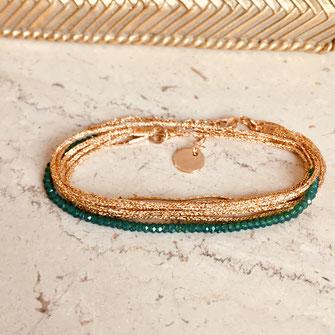 gwapita Leo Léo vert bracelet perles ruban doré or bijoux