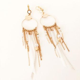 SAMBA boucles d'oreilles blanc blanche white doré gwapita créatrice creation longues belles earrings design