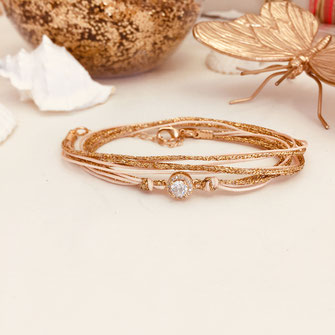 gwapita bracelet adèle rose pale poudré ruban doré double tour bijoux femme