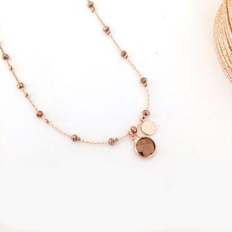 gwapita collier perles chaine fine doré pyrite Pablo