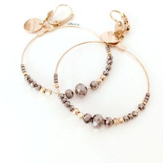 Chloé gwapita boucles d'oreilles earrings earring gris foncé ronde creoles perle