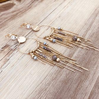 boucles d'oreilles gris doré longues chaînes gwapita belle grosse creole ronde breloque papille perles doré plaqué or bijoux earrings nude longues perles chaines