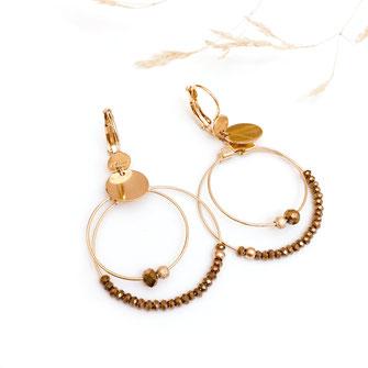 gwapita mini colivia anneaux double deux créoles champagne new boucles d'oreilles doré gold vert  creoles perles marron camel
