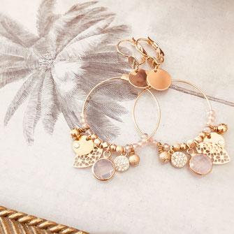boucles d'oreilles créoles rondes or rose grandes gwapita colorée perles raffinée doré