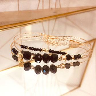 bracelet doré plaqué or fin Gwapita bijoux créatrice française france Marius noir fin double chaine